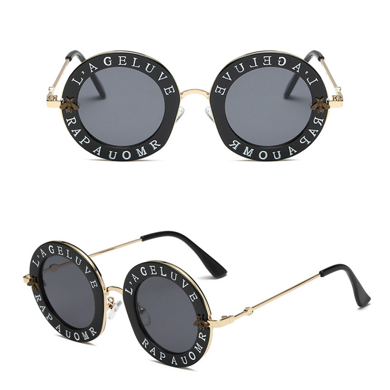 2020 Hip-Hop Letter Round Frame Little Bee Men Women Round SunglassesHip-Hop 2019 Little Bee Custom Logo Printing Men Women Round Sunglasses