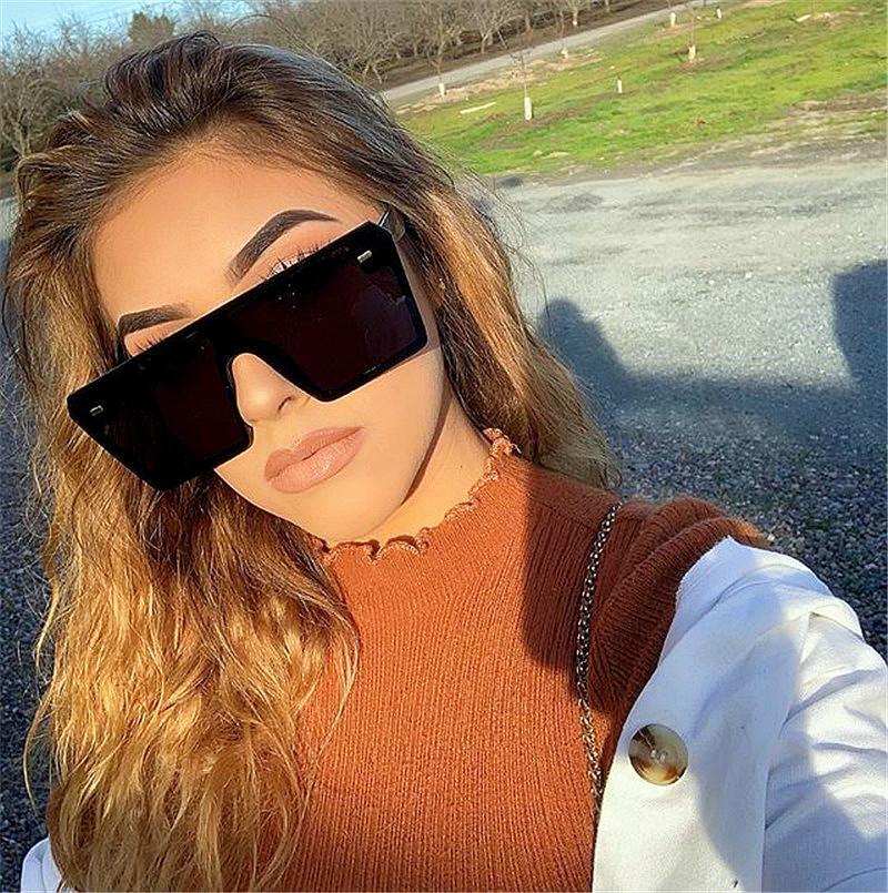 High Quality Designer Big Frame Colorful Square One Piece Oculos De Sol Women Men Oversized SunglassesHigh Quality Designer Colorful Square One Piece Oculos De Sol Women Men Sunglasses