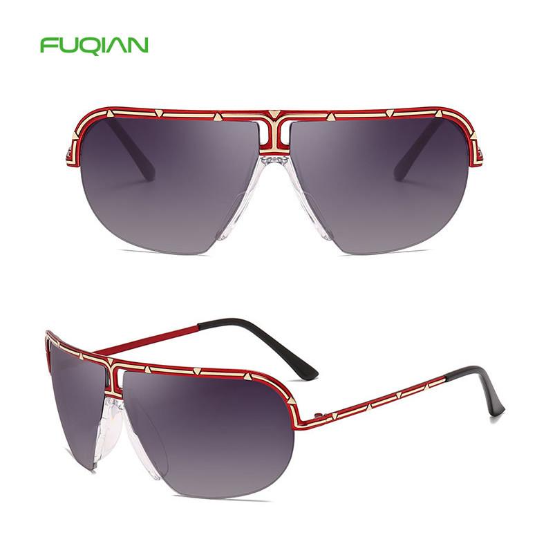 Irregular Square Metal Half Frame Custom Logo Women Men Sunglasses