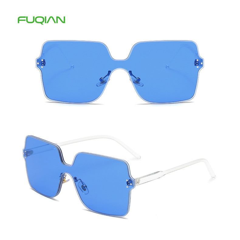 Fashionable Candy Rimless One Piece Lens Square Frame Men Women Eyewear