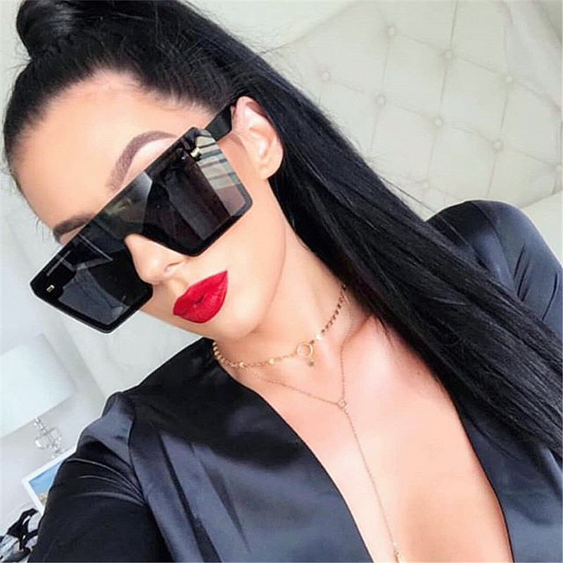 Retro Colorful Mercury Square One Piece Rice Nail Women Men Big Frame Oversized SunglassesRetro Colorful Mercury Square One Piece Rice Nail Women Men Sunglasses