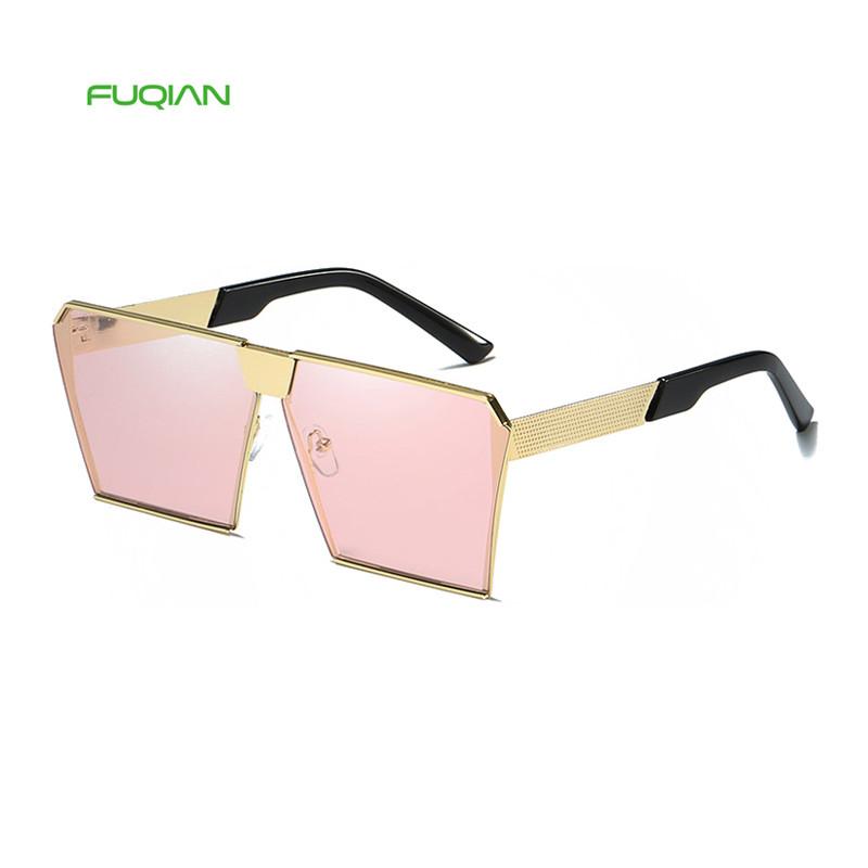Luxury Square Metal Big Frame Polarized Women Men Unisex Oversized Sunglasses 2020