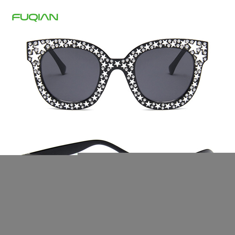 Sequins Five-Star Diamond Custom Authentic Men Women Cat Eye SunglassesSequins Five-Star Diamond Custom Authentic Men Women Cat Eye Sunglasses