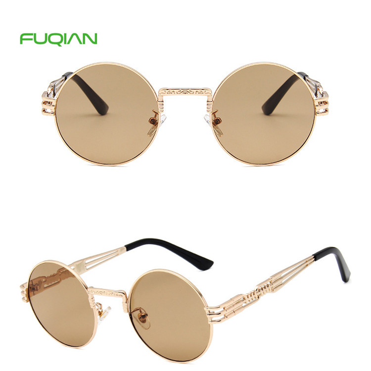 Customized Logo Retro Hollow Out Spring Hing Men Women Round SunglassesCustomized Logo Retro Hollow Out Spring Hing Men Women Round Sunglasses