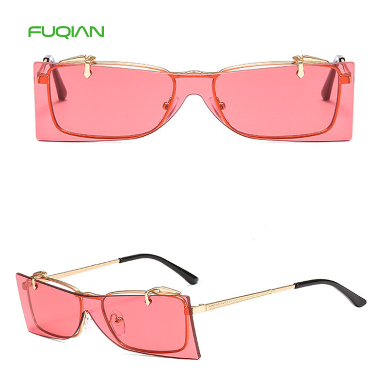 Retro Metal Rimless Overturned Shade Men Women Square Clip On SunglassesCustom Logo Retro Metal Rimless Overturned Shade Men Women Square Sunglasses
