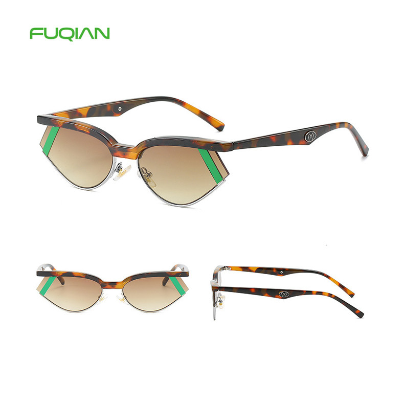 Custom Logo Stylish Printing Frame Color Stripe Lens Semi Rimless Women MenSunglassCustom Logo Stylish Printing Frame Color Stripe Lens Semi Rimless Women Men  Sunglass