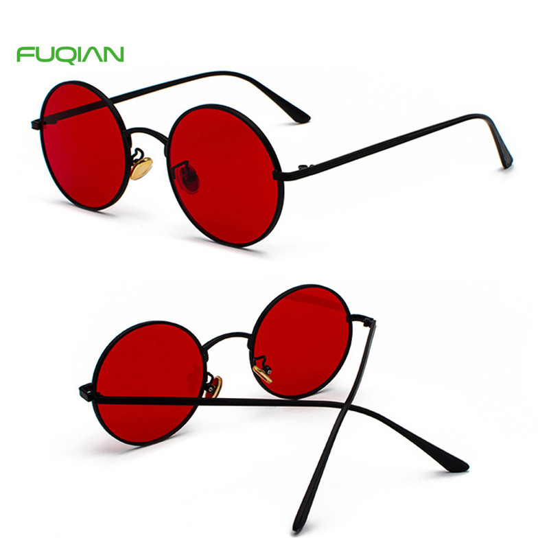 Cat3 UV400 Multi Color Blue Light Red Punk Men Women Round SunglassesCustomized Logo Retro Multi Color Punk Round Men Women Sunglasses