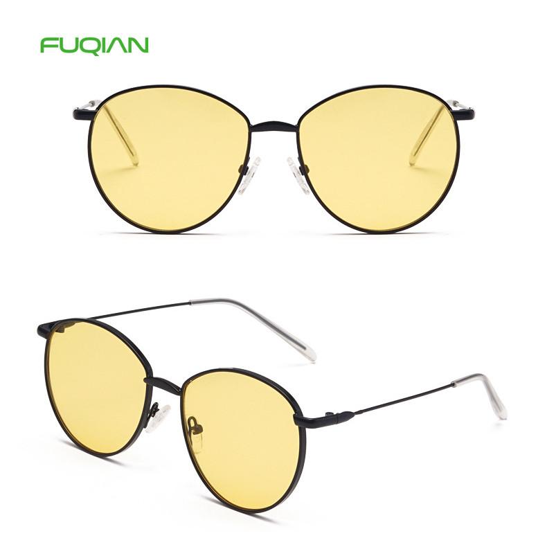 Polar One Glass Mirror Round Shades Cat3 UV400 Men Women SunglassesHot selling 2019 Clear Round Metal Frame UV400 Men Woen Sunglasses