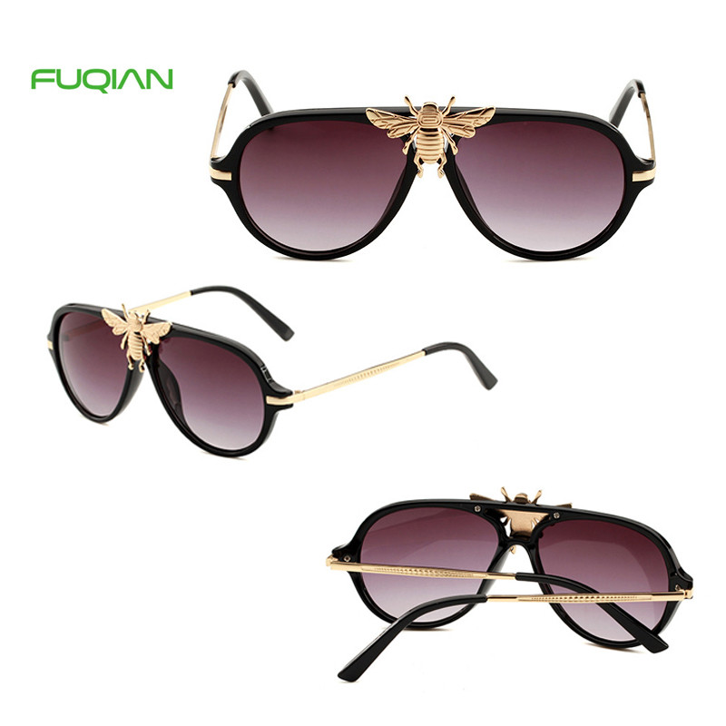 China Manufacturer Newest Luxury Gold Bee UV400 Unisex Pilot Sunglasses