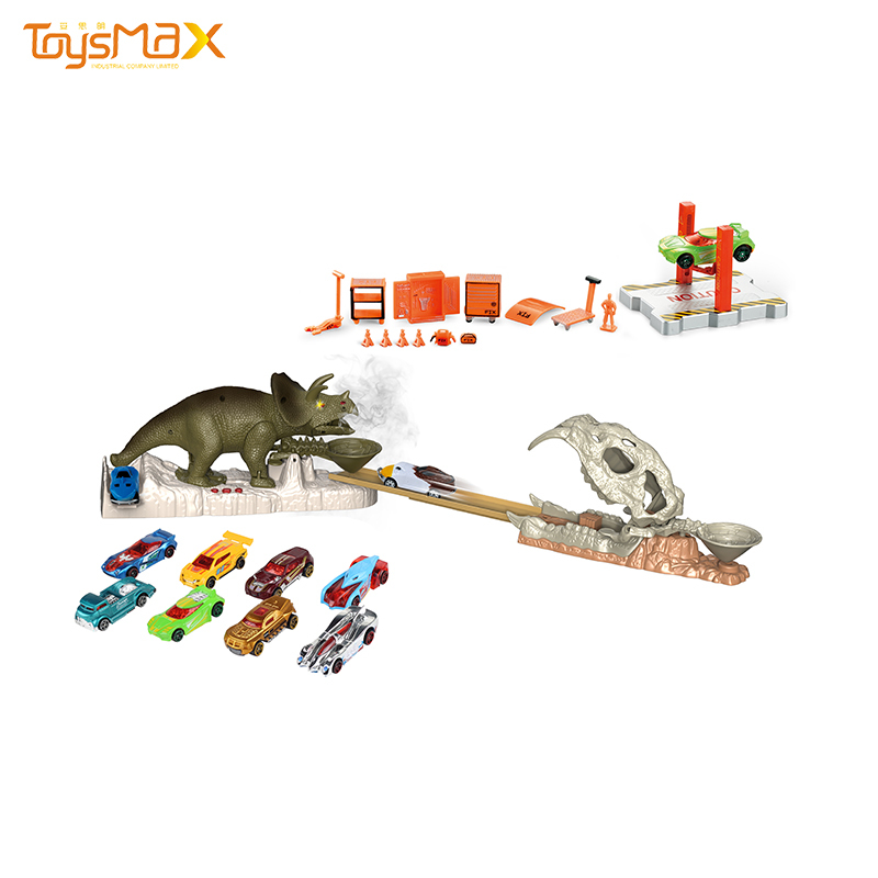 Latest Design toy spray dinosaur electrical ejection track racing toy with kids triceratops toy set