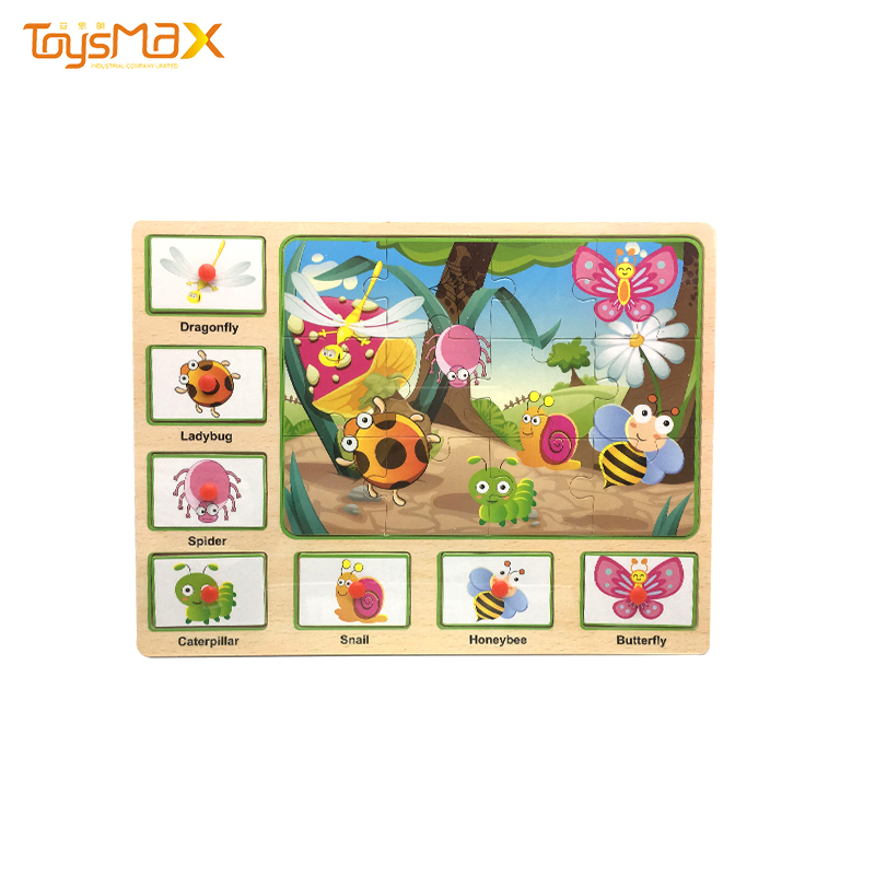 Children Wooden Puzzle Game Early Education Insect Jigsaw Puzzle Toys