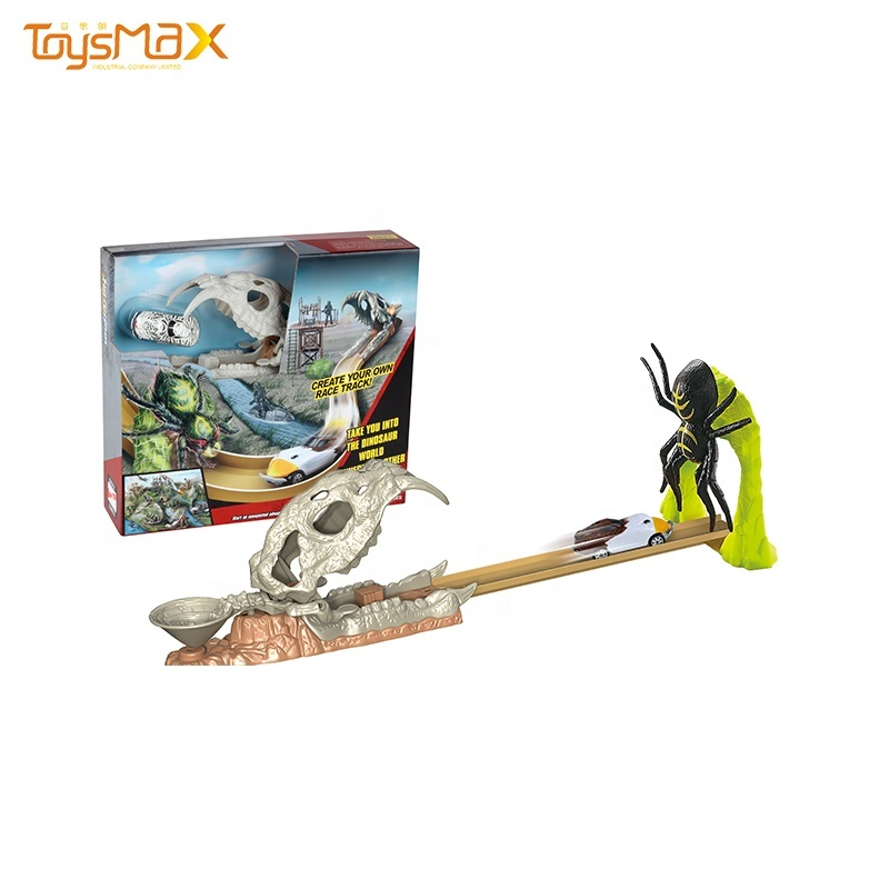 New products Bone dragon head intelligence toy dinosaur track toy with  die cast vehicle