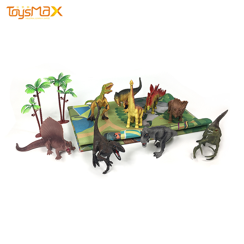 Amazon hot sale kids educational toy 9 models dinosaur toy figure with activity play mat