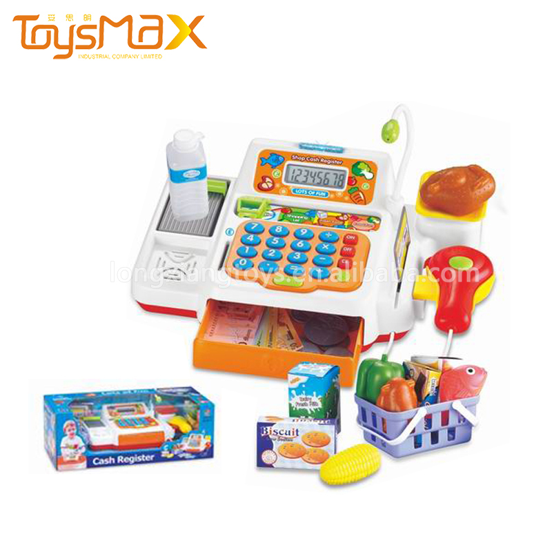 Children Preschool Plastic Battery Operated Shopping Toy Cash Register For Play