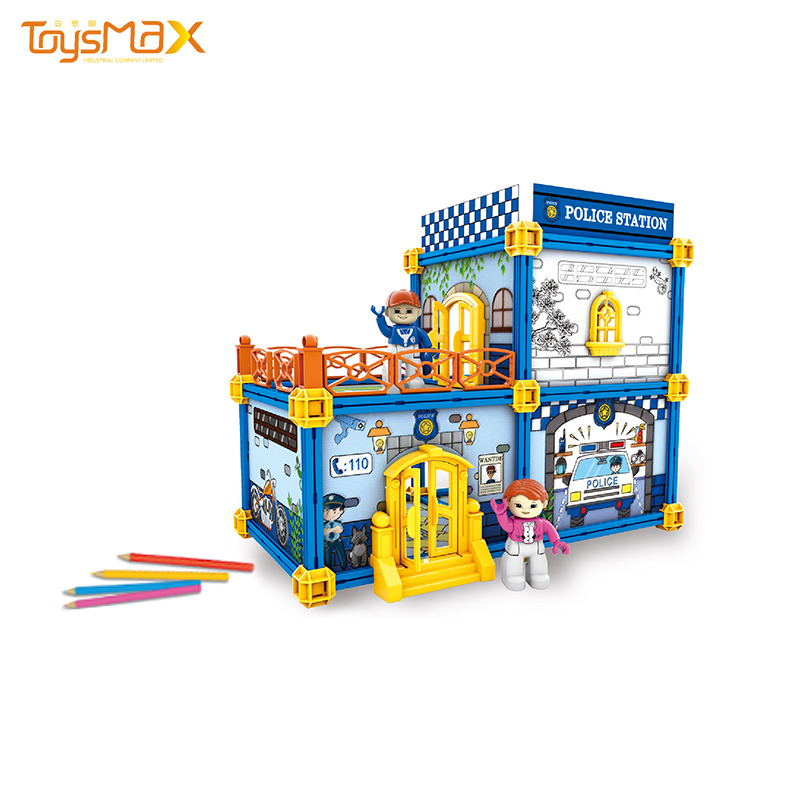 New arrival painting toys building DIY doodle house for kids