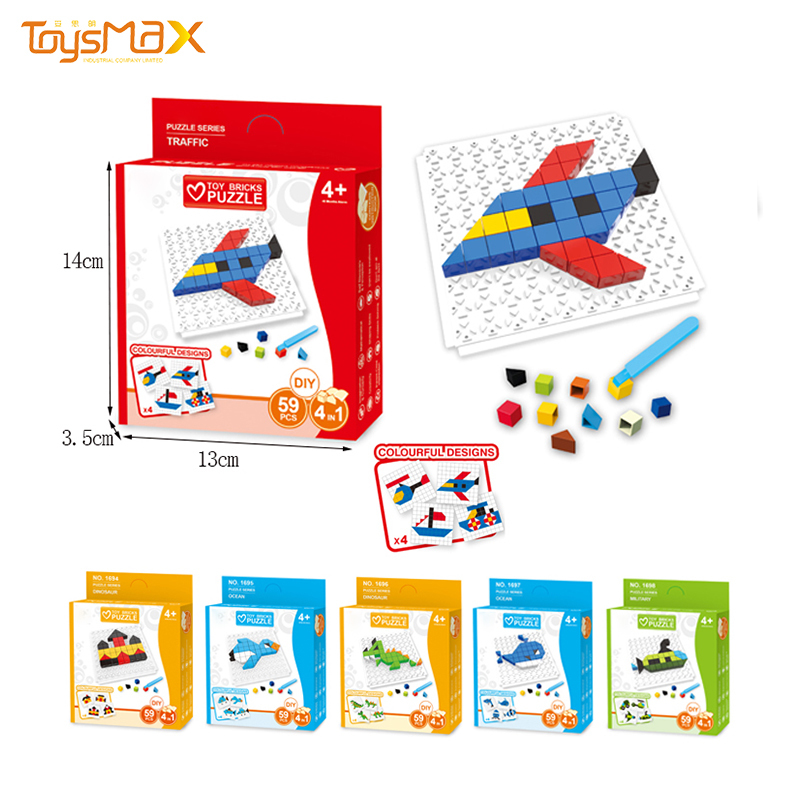 Jigsaw Puzzle Manufacturer 4 IN 1 DIY Assemble Puzzle Building Blocks Toys With 59pcs