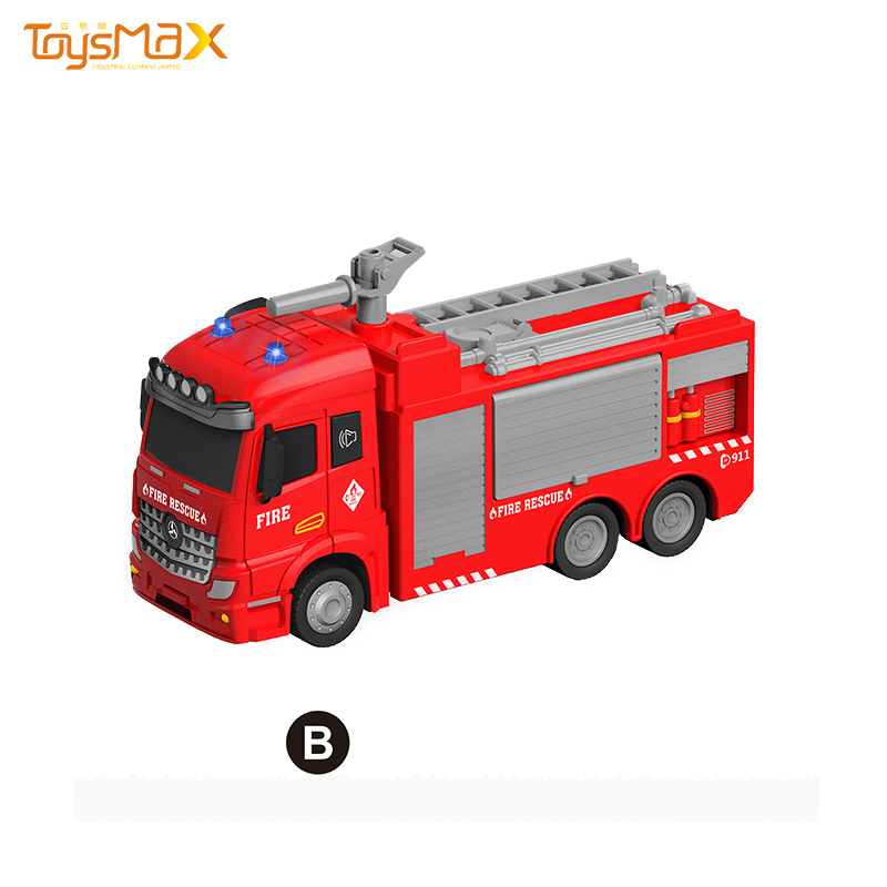 2020 New popular Europe style 1:46 scale  pull back battery operated fire truck toy