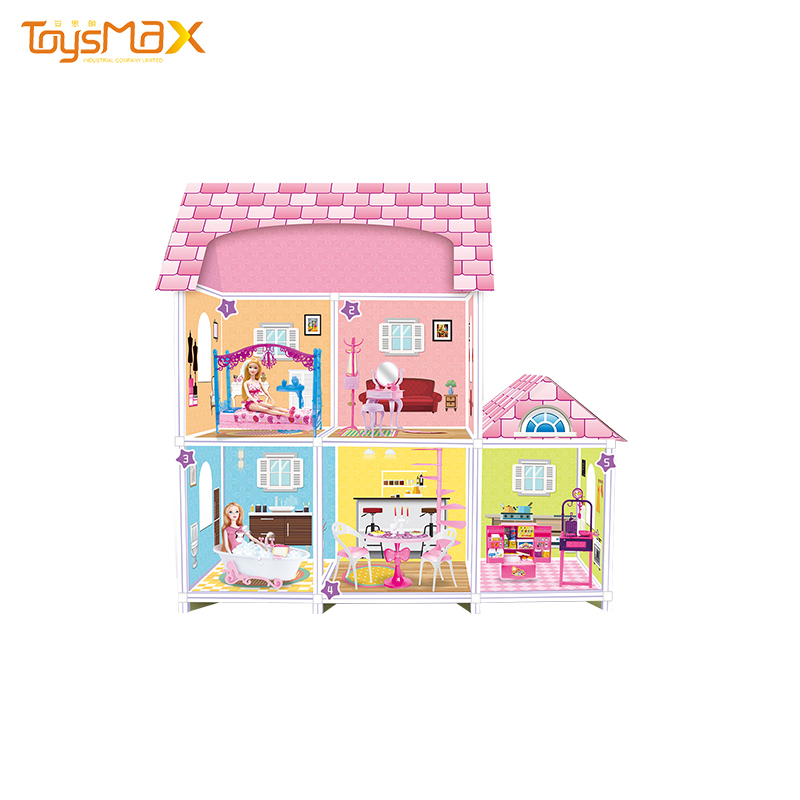 New arrival creative design 11.5inch 2 dolls fashion two-layer doll dream house