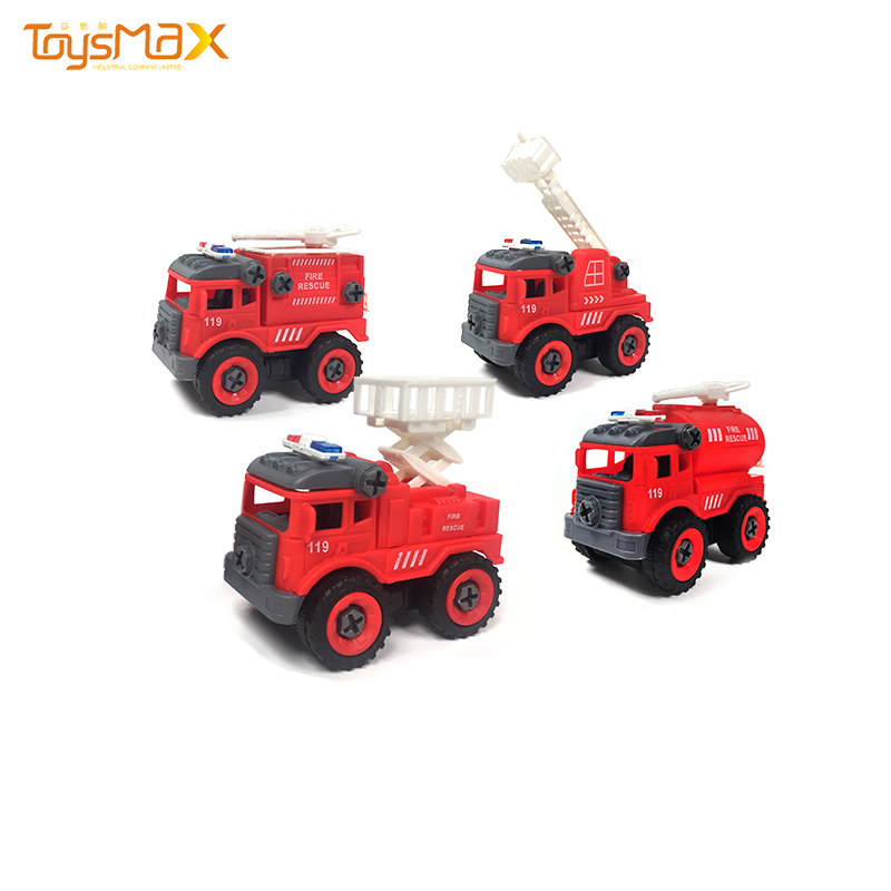 Amazon hot sale educational toy 4 pcs assembly car mini fire truck toy