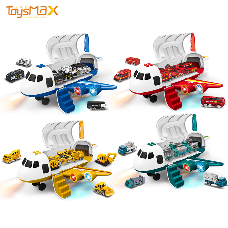 Kid's educational toys transport friction aircraft inertia deformation alloy plane electric toy with spray music and light
