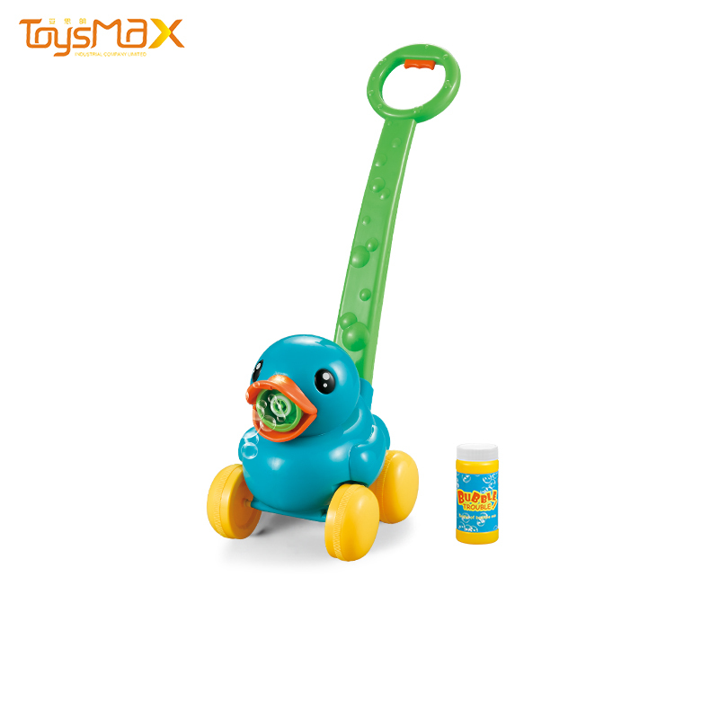 Kids Electric Bubble Machine Duck Bubble Trolley Toy With Light And Music