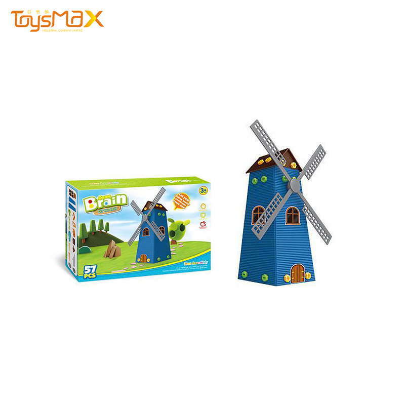 Intelligent Toys Assembly Garden Windmill House Diy  Building Blocks With Tools