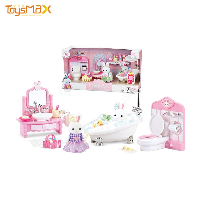 Hot sale creative doll bathroom modle diy craft doll house accessories