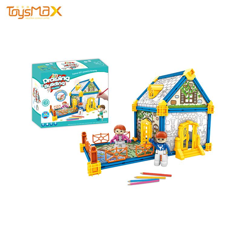 New item creative design building blocks villa DIY paint assemble house for children