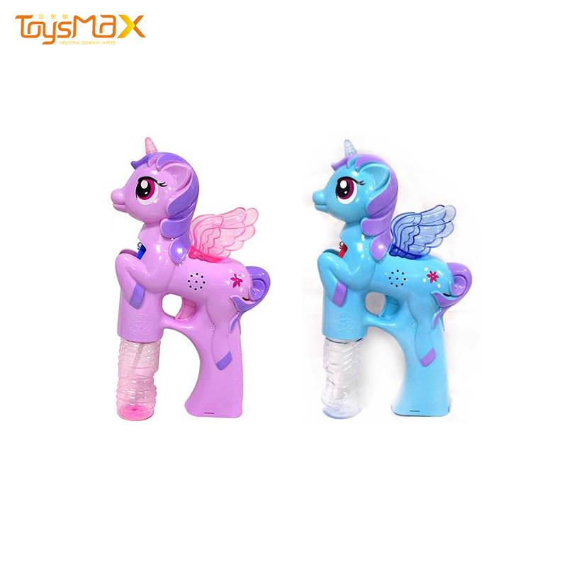 Hot sale out door electric educational bubbles water toy  unicorn music light coloured bubble toy