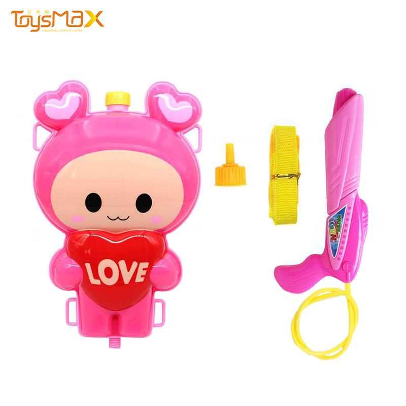 Amazon hot sale cute cartoon pink love rabbit powerful water gun with backpack
