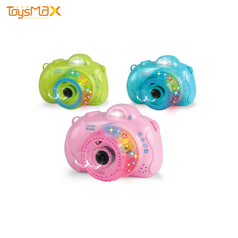 Hot sale summer outdoor toys colorful camera bubble toy with music and light