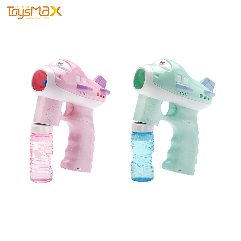 2020 new design eco-friendly material green pink color bubble toy plane with light music