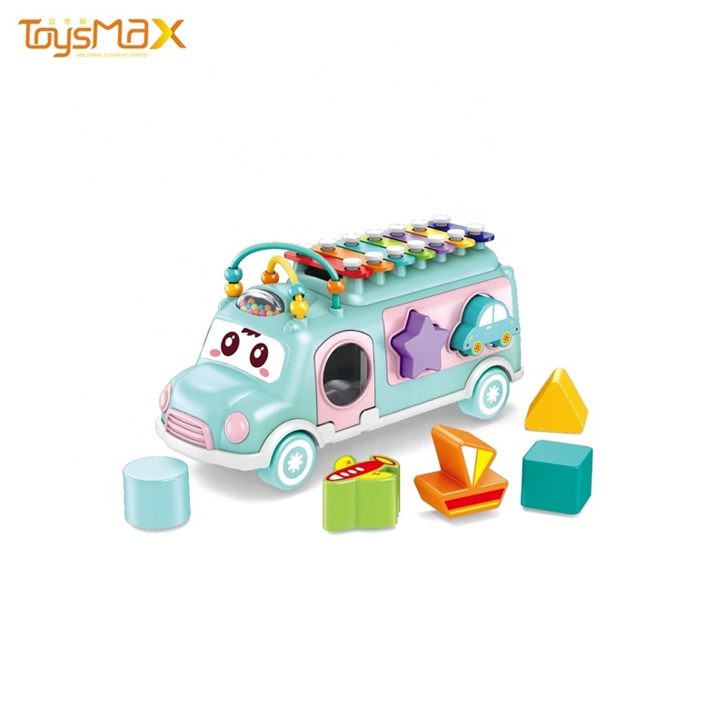 Multi color Educational Baby Bus, multi-functional Baby knocking piano, baby puzzle toy