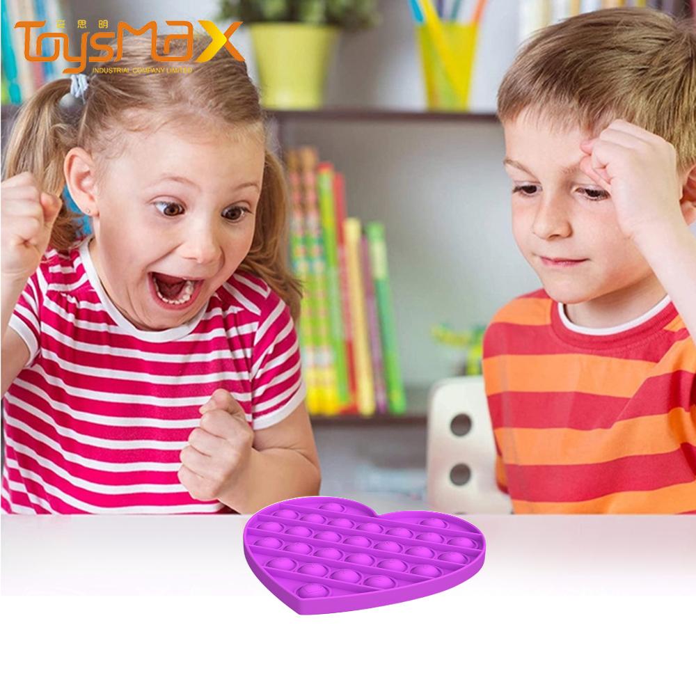 Amazon Best Selling Educational STEM Playing Board Heart shaped Push Pop Bubble Fidget Sensory Toy For Kids Adults