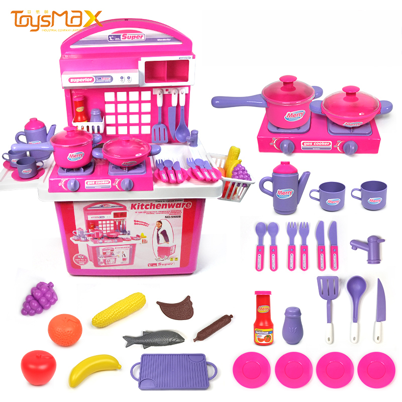 Wholesale high quality kitchen toys pretend play trolley kitchen cart toy