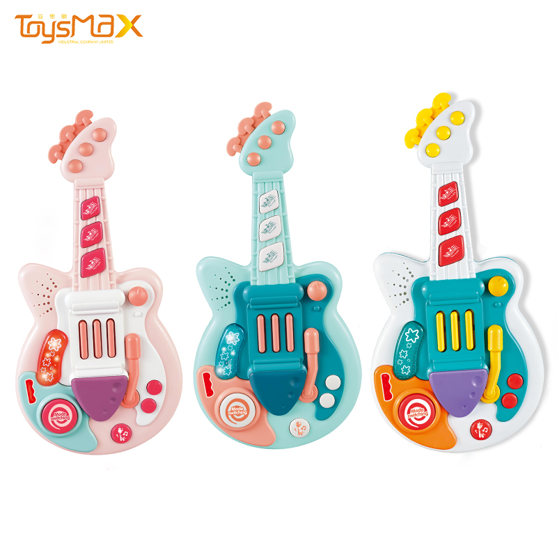 New Arrival Wlectric Multi-function Colorful Baby Toy Guitar With Music And Light For Kids