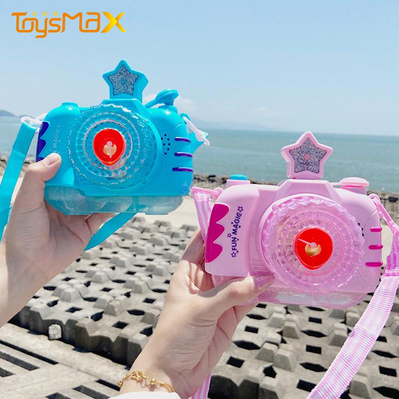 Toys World 2021 Summer Bubble Camera Soap Bubble Machine Automatic Light Toys Outdoor Music Pink Bubble Camera