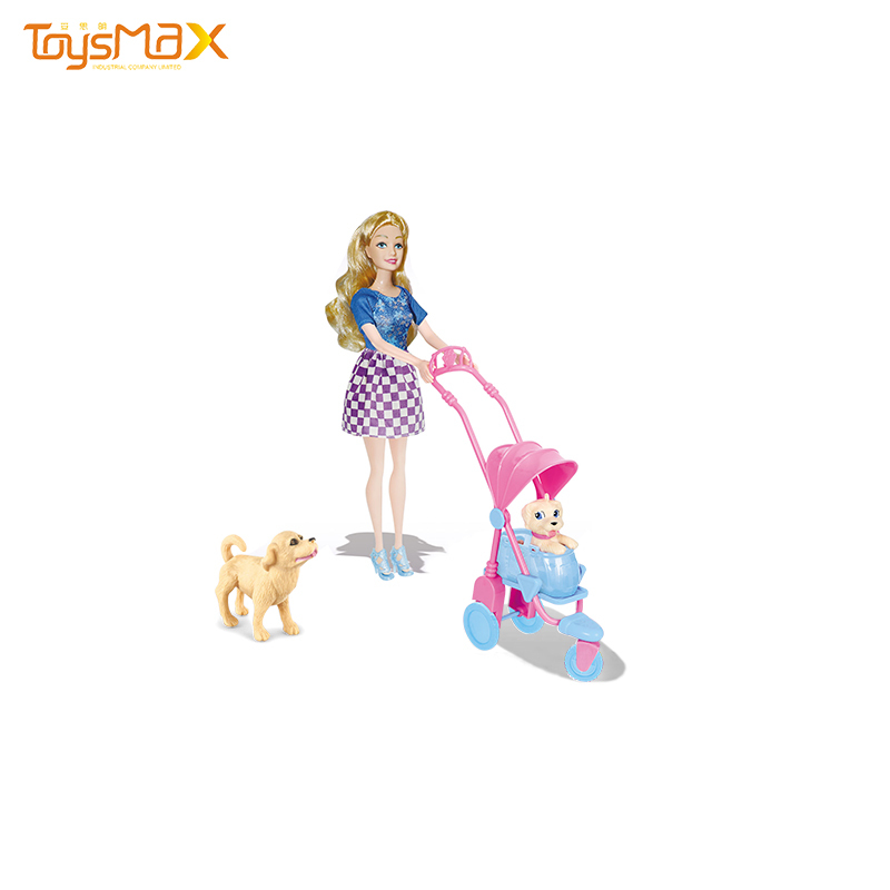 High quality 11.5 inch Solid body doll walking the dog cheap doll accessories set