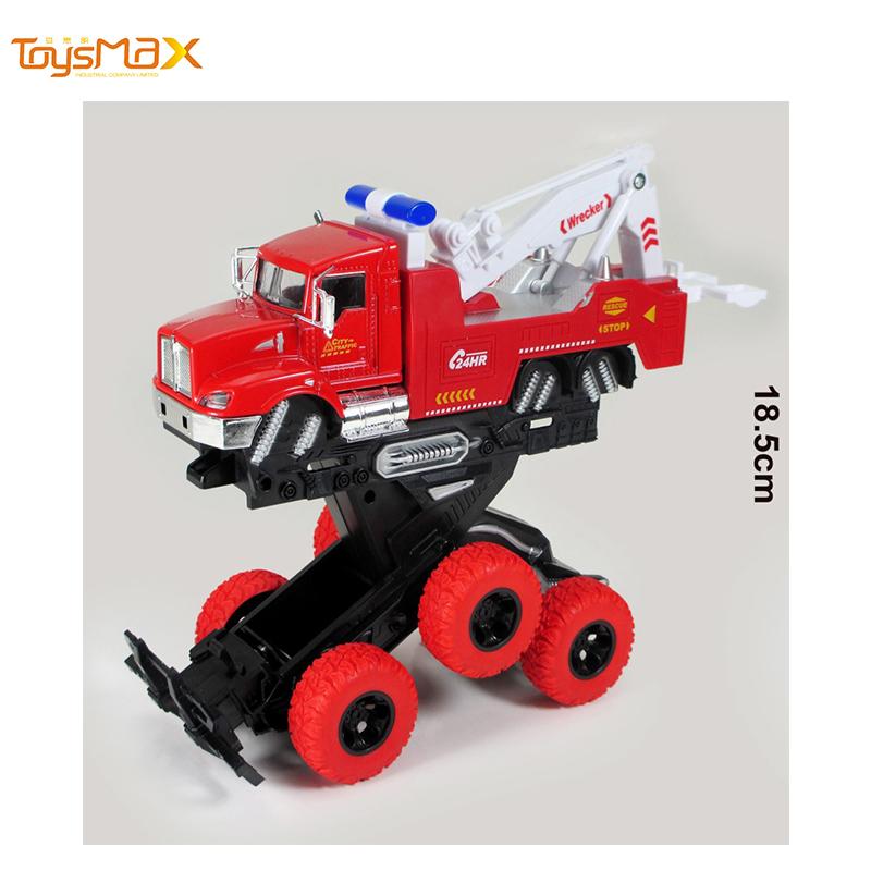 Hotsale Double Inertia Power Metal Rescue Truck Toys Diecast deformation toy truck