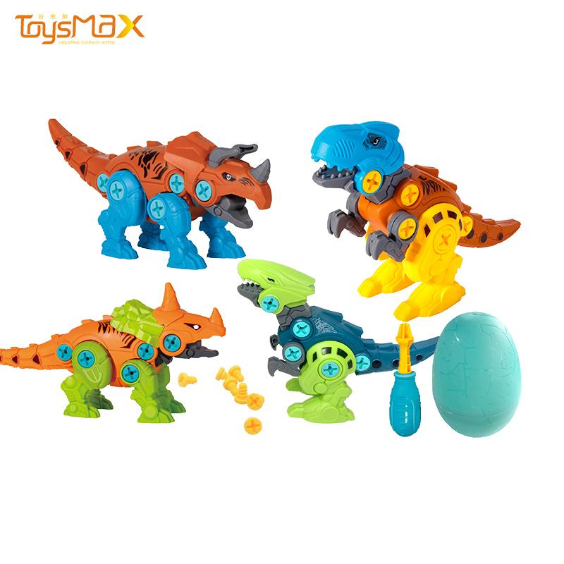 New design education plastic surprise egg toy dinosaur assembly toys