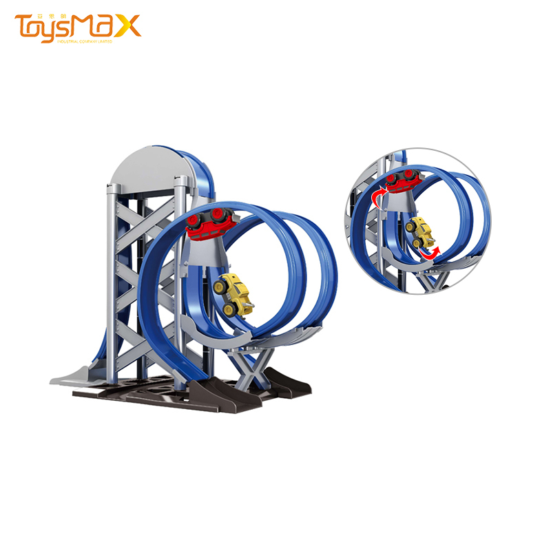 Wholesale double tracks magnetic slot racing track car toys with 2 cars
