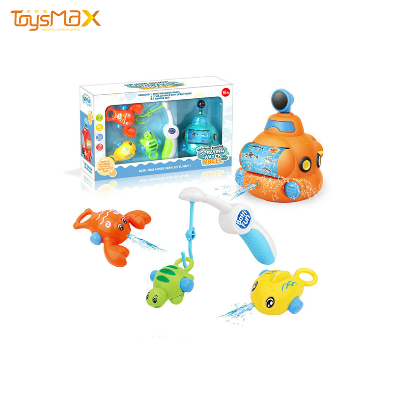 Fishing Game Toy Water Spray  Submarine Toy Car For Baby Bath Toys
