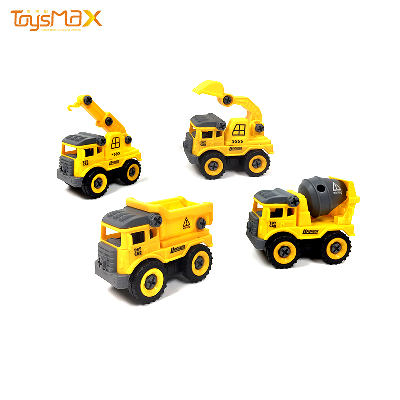 DIY take apart toy disassembling and assembling toy construction vehicles