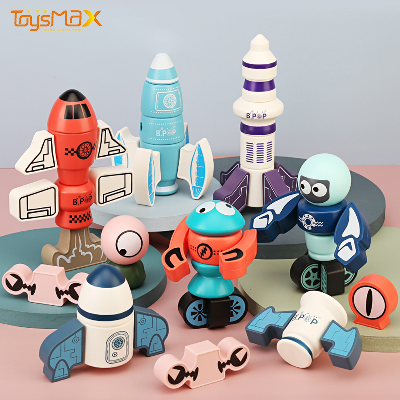 Children educational game 68pcs magnetic rocket block building toy diy