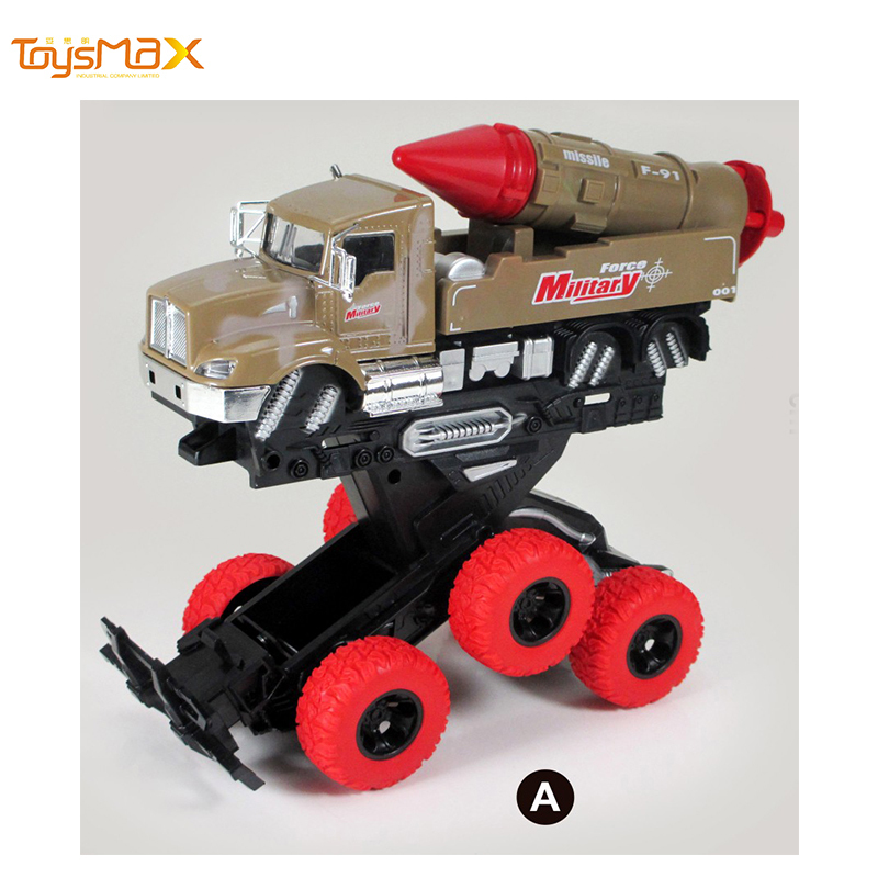 Hotsale Double Friction Power Metal Military Truck Toys Diecast deformation  toy truck