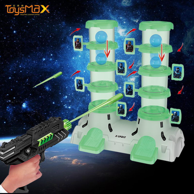 Creative design shooting games glow-in-the-dark double cylinder shooting target game toys