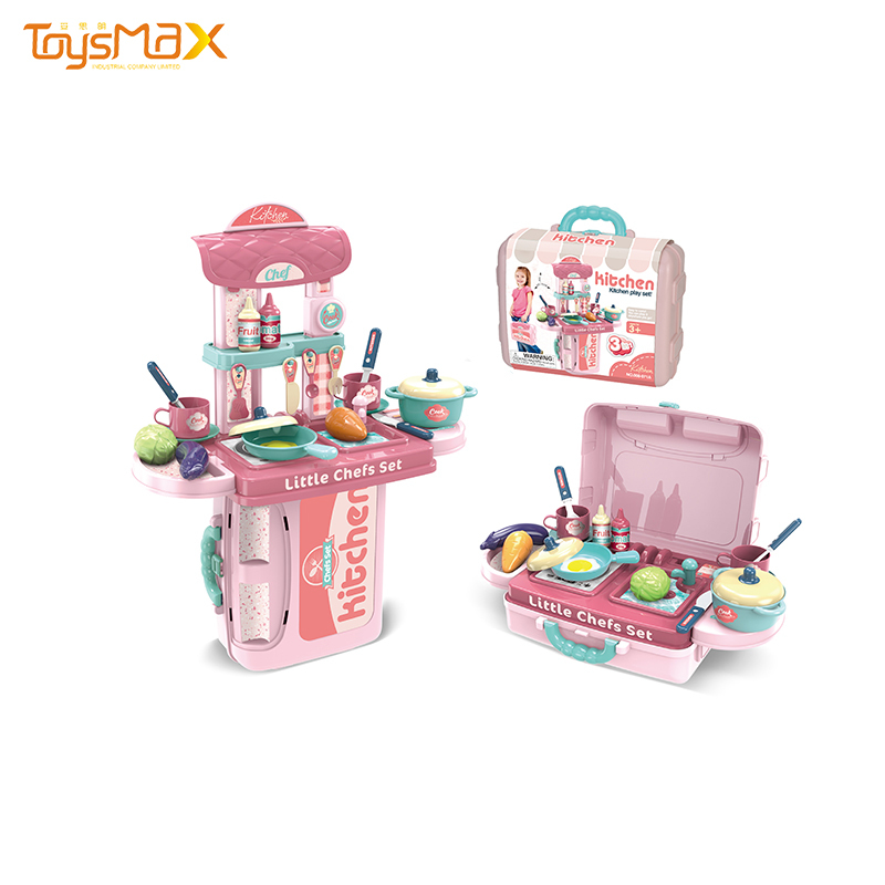 Children cooking role play toys pretend play toy 3 in 1suitcase kitchen toys play set