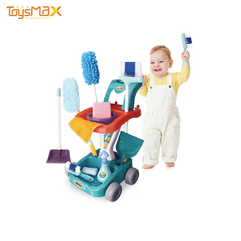 Funny design car cleaning set pretend play game kids cleaning set with 12 accessories