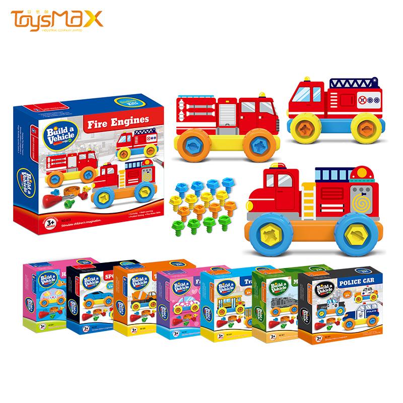 Amazon hot sale new toys educational DIY assembly building blocks vehicle