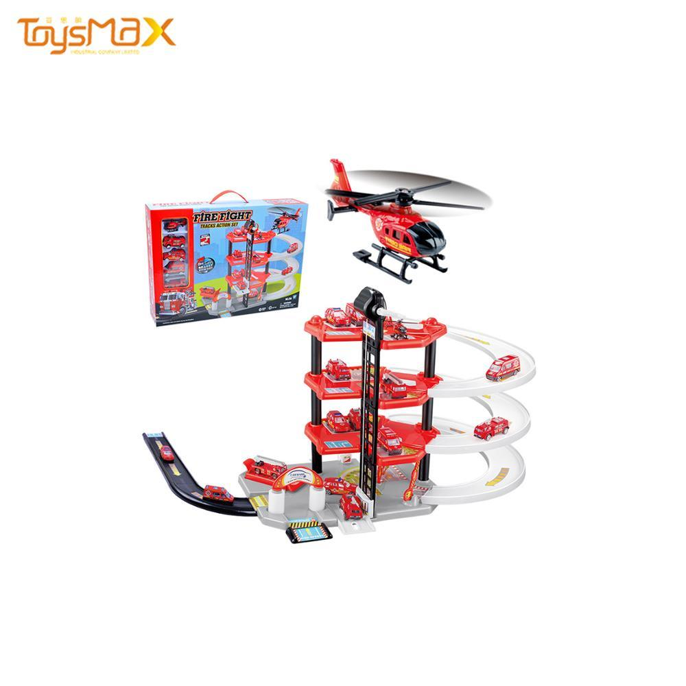DTY Track Toy Educational Four-layer Assembled Rail Car Fire Parking Lot Toy